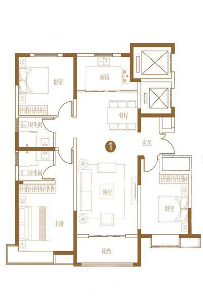 150㎡K户型  3室2厅2卫1厨